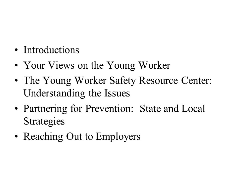 Introductions Your Views on the Young Worker The Young Worker Safety Resource Center: Understanding the Issues Partnering for Prevention: State and Local Strategies Reaching Out to Employers