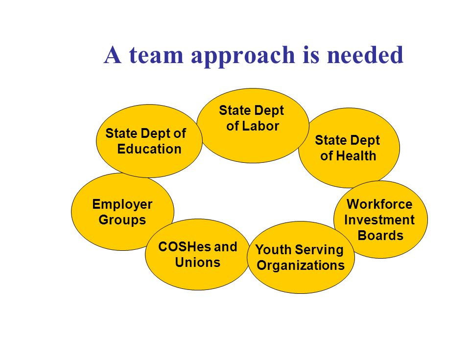 A team approach is needed Employer Groups State Dept of Health State Dept of Labor State Dept of Education COSHes and Unions Workforce Investment Boards Youth Serving Organizations