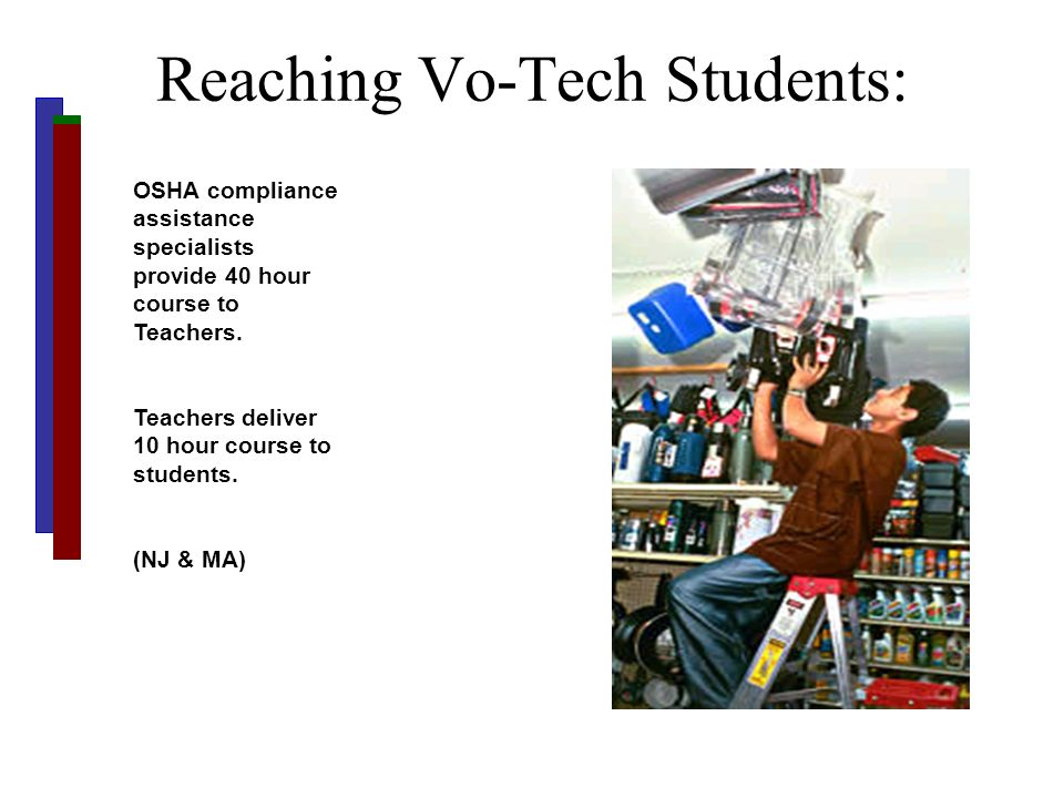Reaching Vo-Tech Students: OSHA compliance assistance specialists provide 40 hour course to Teachers. Teachers deliver 10 hour course to students. (NJ