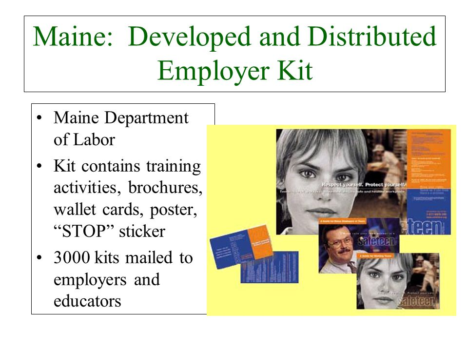 Maine: Developed and Distributed Employer Kit Maine Department of Labor Kit contains training activities, brochures, wallet cards, poster, STOP sticke