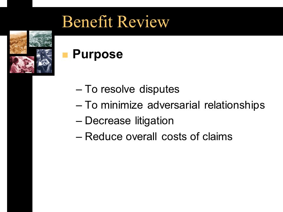 Benefit Review n Purpose –To resolve disputes –To minimize adversarial relationships –Decrease litigation –Reduce overall costs of claims