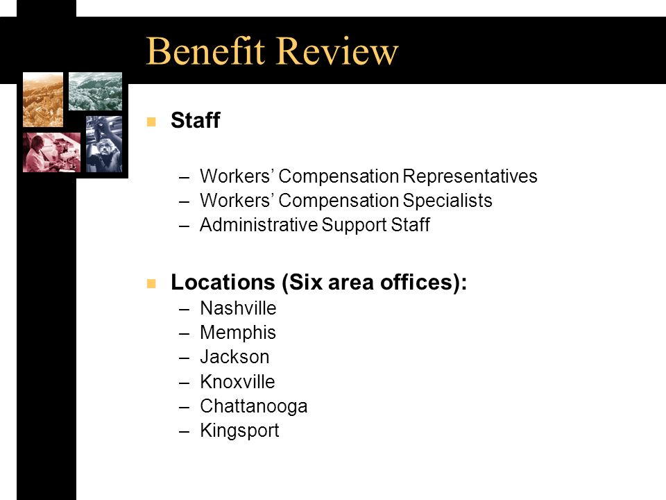 Benefit Review n Staff –Workers Compensation Representatives –Workers Compensation Specialists –Administrative Support Staff n Locations (Six area offices): –Nashville –Memphis –Jackson –Knoxville –Chattanooga –Kingsport