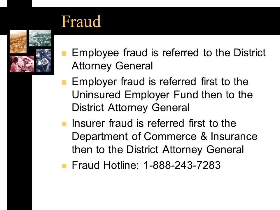 Contact Information n Toll-free number: 1-800-332-2667 n Website: www.state.tn.us/labor-wfd/wcomp n Coverage & Uninsured Employers Fund (UEF) Mark.Finks@state.tn.us n Claim Forms Filing and Electronic Data Interchange Patsy.Bumbalough@state.tn.us n Benefit Review Teresa.Bullington@state.tn.us n Medical Case Management & Utilization Review Suzy.Douglas@state.tn.us n Drug-Free Workplace Program James.Wallace.Farmer@state.tn.us