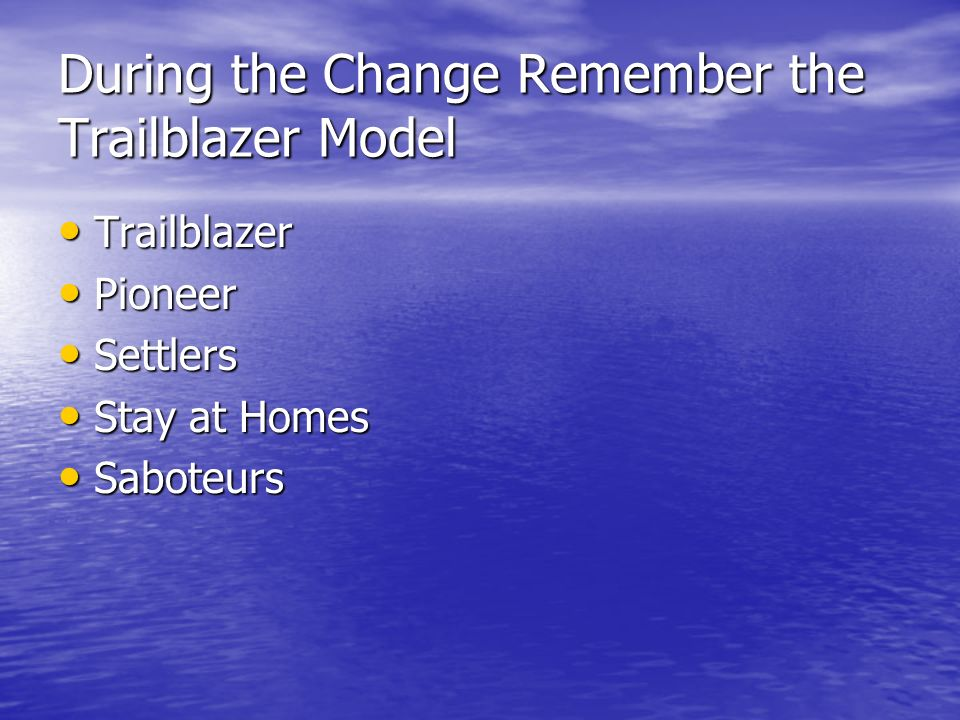 During the Change Remember the Trailblazer Model Trailblazer Trailblazer Pioneer Pioneer Settlers Settlers Stay at Homes Stay at Homes Saboteurs Sabot