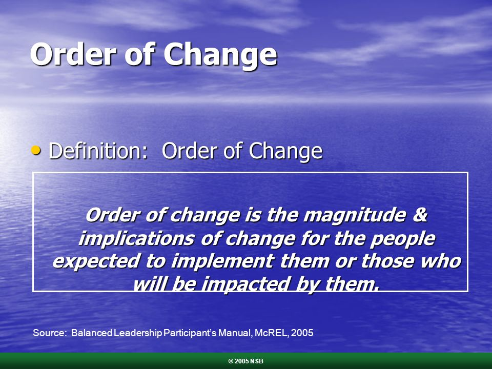 Order of Change Definition: Order of Change Definition: Order of Change Order of change is the magnitude & implications of change for the people expec