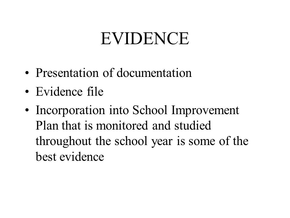 EVIDENCE Presentation of documentation Evidence file Incorporation into School Improvement Plan that is monitored and studied throughout the school year is some of the best evidence