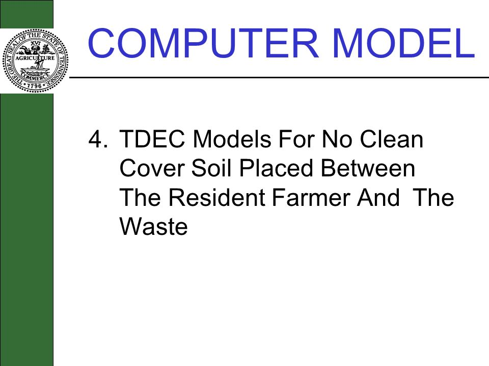 COMPUTER MODEL 4.TDEC Models For No Clean Cover Soil Placed Between The Resident Farmer And The Waste