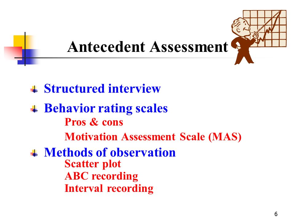6 Antecedent Assessment Structured interview Behavior rating scales Motivation Assessment Scale (MAS) Pros & cons Methods of observation Scatter plot
