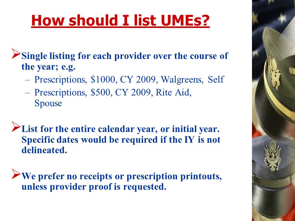 How should I list UMEs. Single listing for each provider over the course of the year; e.g.
