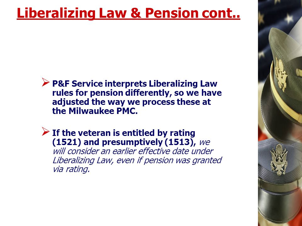 Liberalizing Law & Pension cont..
