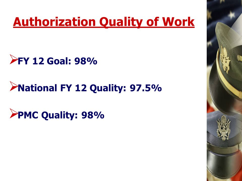 Authorization Quality of Work FY 12 Goal: 98% National FY 12 Quality: 97.5% PMC Quality: 98%