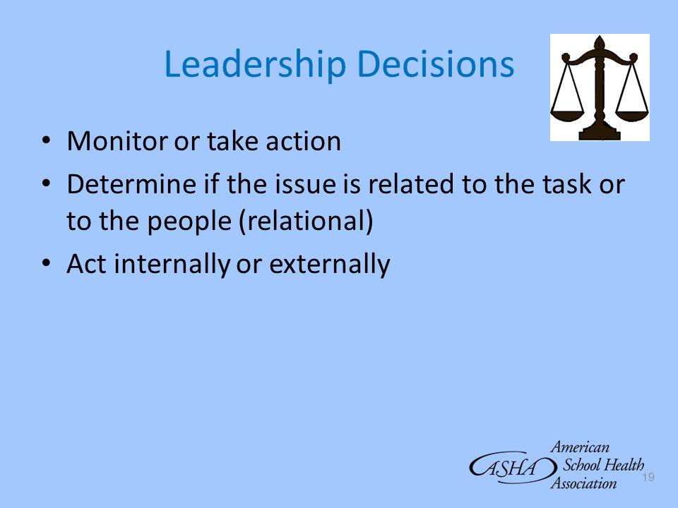 19 Leadership Decisions Monitor or take action Determine if the issue is related to the task or to the people (relational) Act internally or externall