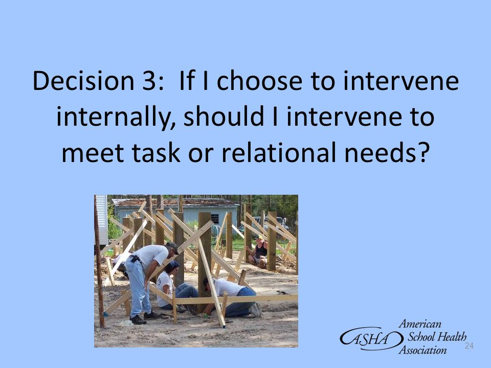 24 Decision 3: If I choose to intervene internally, should I intervene to meet task or relational needs?