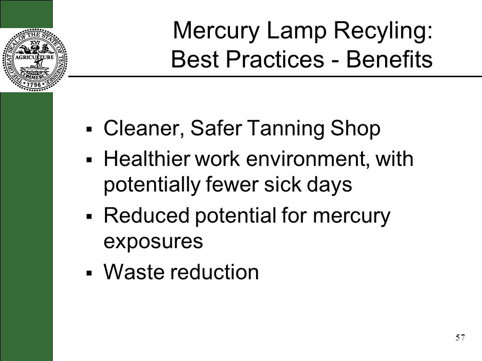 56 Best Practices for Mercury Lamps Dos and Donts about handling lamps. Dont place in dumpster Dont retain onsite more than 1 year Dont breath dust or
