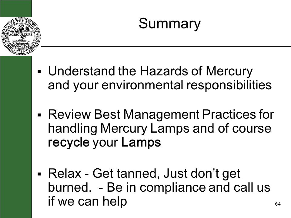 63 Recycling Mercury Lamps Open Forum: Questions about recycling & Who can help