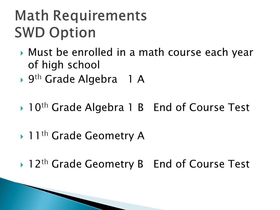 Must be enrolled in a math course each year of high school 9 th Grade Algebra 1 A 10 th Grade Algebra 1 B End of Course Test 11 th Grade Geometry A 12 th Grade Geometry B End of Course Test Math Requirements SWD Option