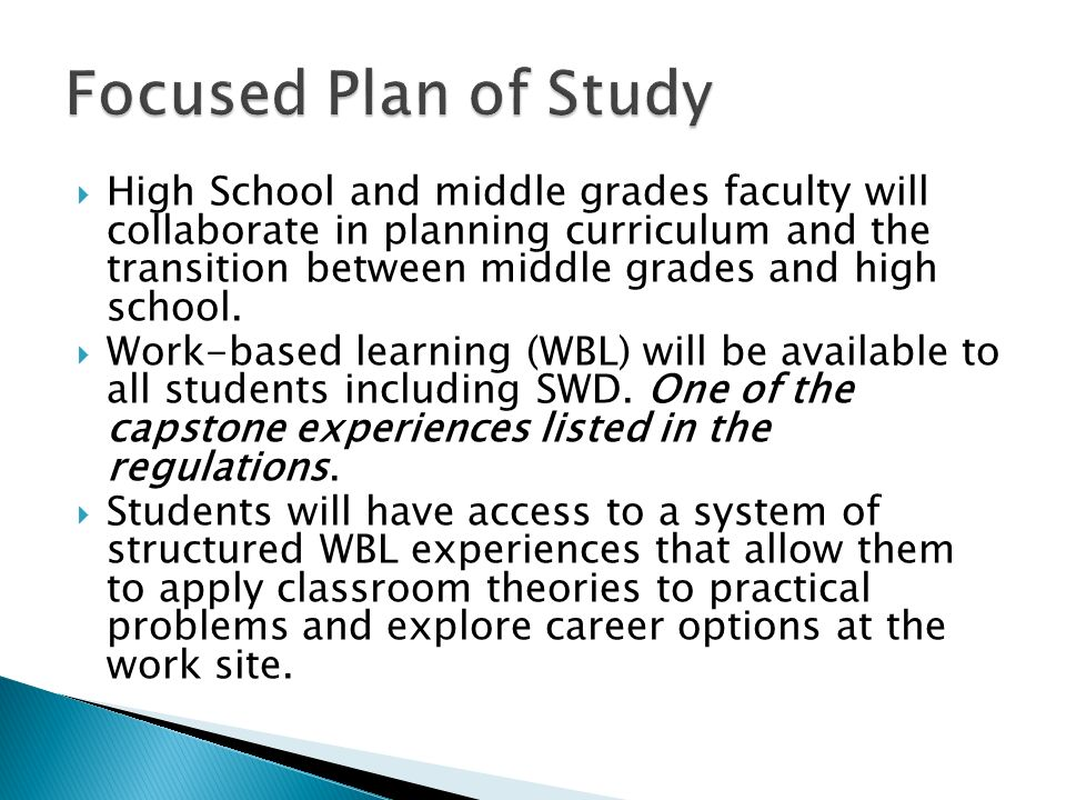 High School and middle grades faculty will collaborate in planning curriculum and the transition between middle grades and high school.