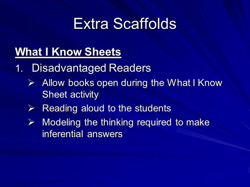 Extra Scaffolds What I Know Sheets 1. Disadvantaged Readers Allow books open during the What I Know Sheet activity Allow books open during the What I