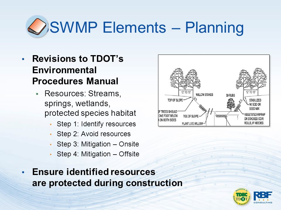 SSWMP Elements – Planning Revisions to TDOTs Environmental Procedures Manual Resources: Streams, springs, wetlands, protected species habitat Step 1: