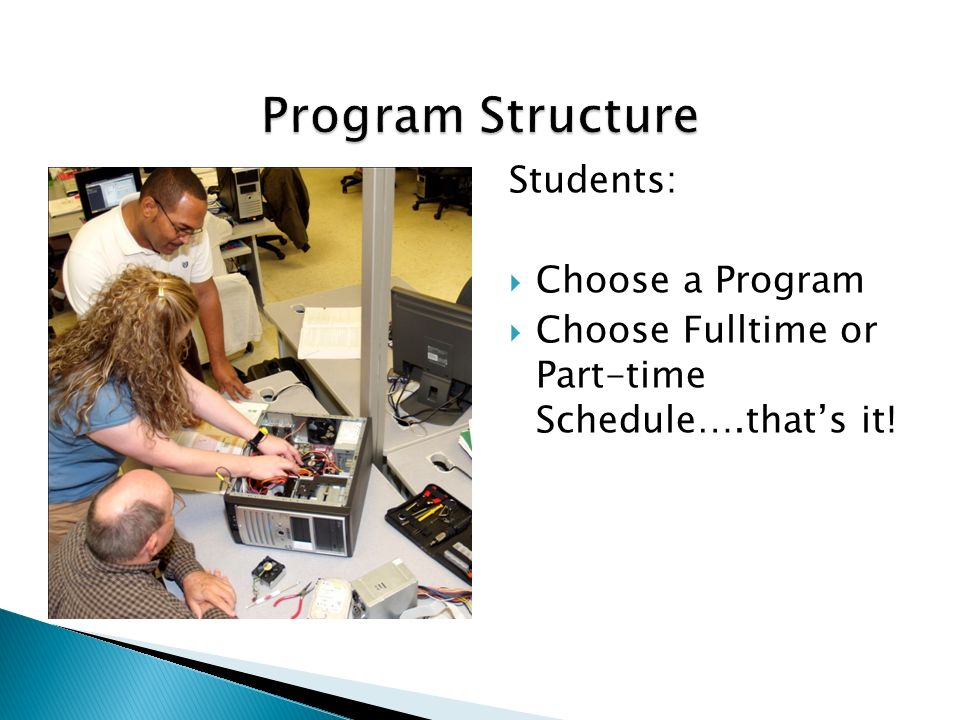 This absence of choice in the Center students program structure has major implications for the student experience; the first being elimination of confusion around what classes to take and in what sequence; second, there is very little choice in scheduling; and third, almost by default, the focus is on learning and completion.