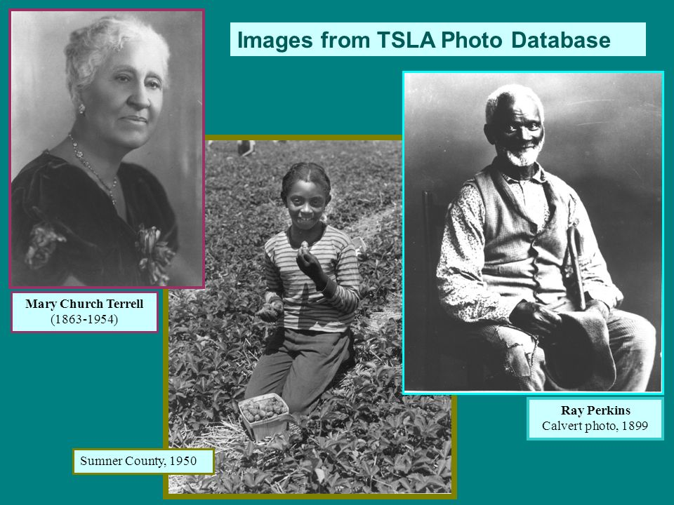 Images from TSLA Photo Database Mary Church Terrell (1863-1954) Ray Perkins Calvert photo, 1899 Sumner County, 1950