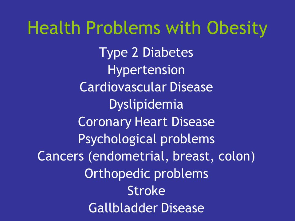 Health Problems with Obesity Type 2 Diabetes Hypertension Cardiovascular Disease Dyslipidemia Coronary Heart Disease Psychological problems Cancers (e