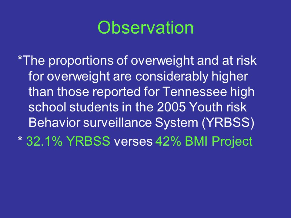 Observation *The proportions of overweight and at risk for overweight are considerably higher than those reported for Tennessee high school students i