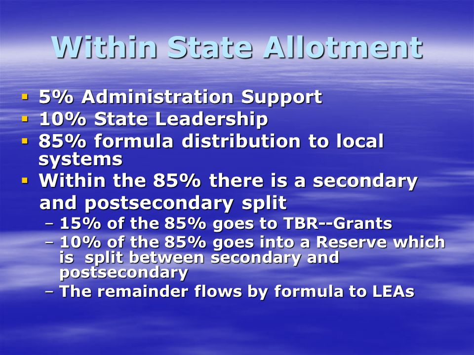 Within State Allotment 5% Administration Support 5% Administration Support 10% State Leadership 10% State Leadership 85% formula distribution to local systems 85% formula distribution to local systems Within the 85% there is a secondary Within the 85% there is a secondary and postsecondary split and postsecondary split –15% of the 85% goes to TBR--Grants –10% of the 85% goes into a Reserve which is split between secondary and postsecondary –The remainder flows by formula to LEAs