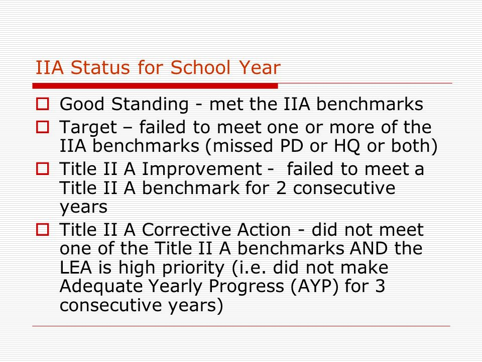 IIA Status for School Year Good Standing - met the IIA benchmarks Target – failed to meet one or more of the IIA benchmarks (missed PD or HQ or both) Title II A Improvement - failed to meet a Title II A benchmark for 2 consecutive years Title II A Corrective Action - did not meet one of the Title II A benchmarks AND the LEA is high priority (i.e.