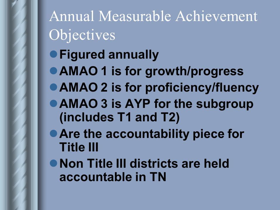 Annual Measurable Achievement Objectives Figured annually AMAO 1 is for growth/progress AMAO 2 is for proficiency/fluency AMAO 3 is AYP for the subgroup (includes T1 and T2) Are the accountability piece for Title III Non Title III districts are held accountable in TN