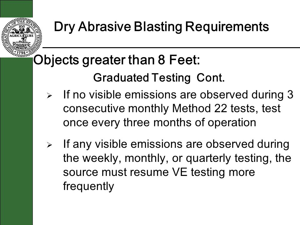 Dry Abrasive Blasting Requirements Objects greater than 8 Feet: Graduated Testing Cont. If no visible emissions are observed during 3 consecutive mont