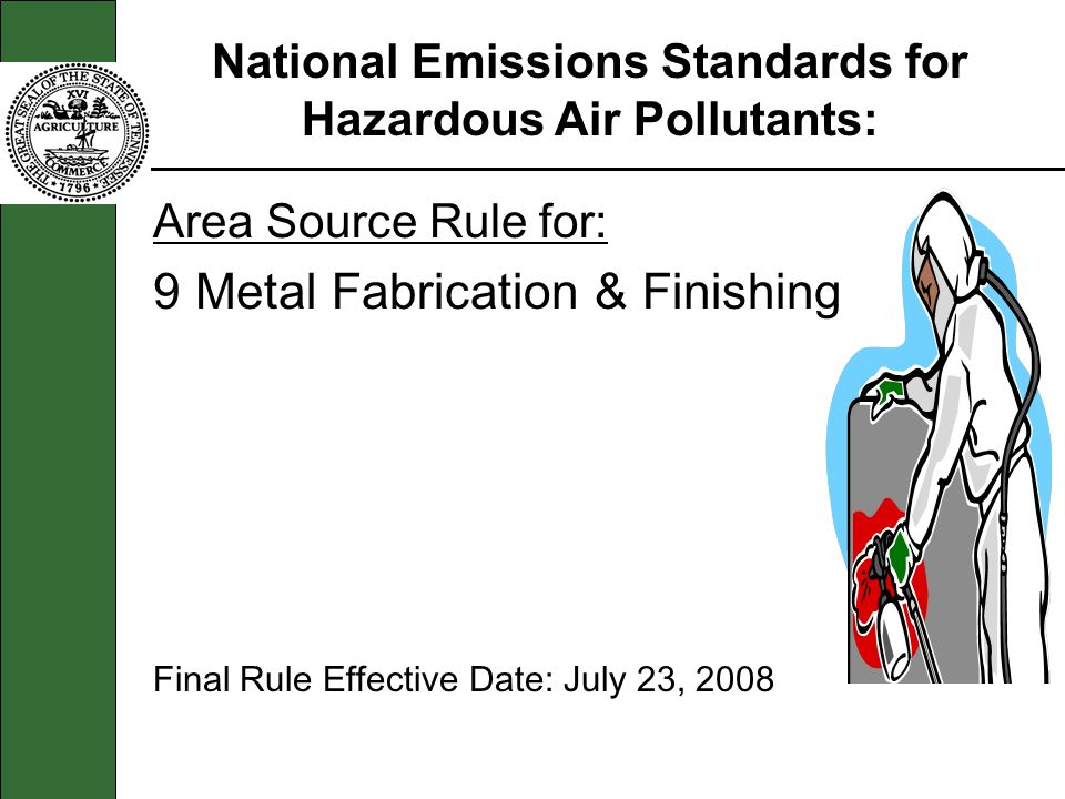 Area Source Rule for: 9 Metal Fabrication & Finishing Final Rule Effective Date: July 23, 2008 National Emissions Standards for Hazardous Air Pollutants: