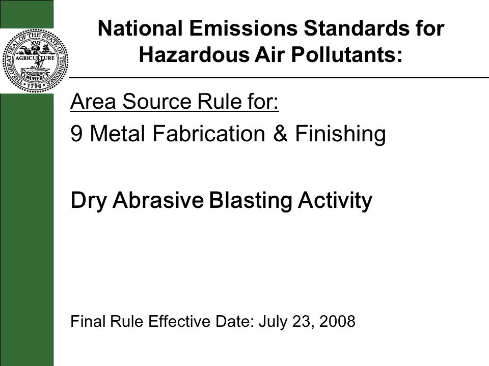 Area Source Rule for: 9 Metal Fabrication & Finishing Dry Abrasive Blasting Activity Final Rule Effective Date: July 23, 2008 National Emissions Stand
