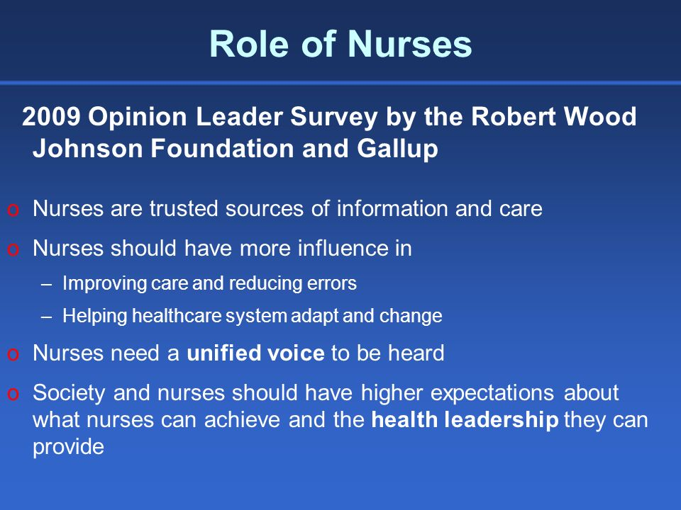 Role of Nurses 2009 Opinion Leader Survey by the Robert Wood Johnson Foundation and Gallup oNurses are trusted sources of information and care oNurses