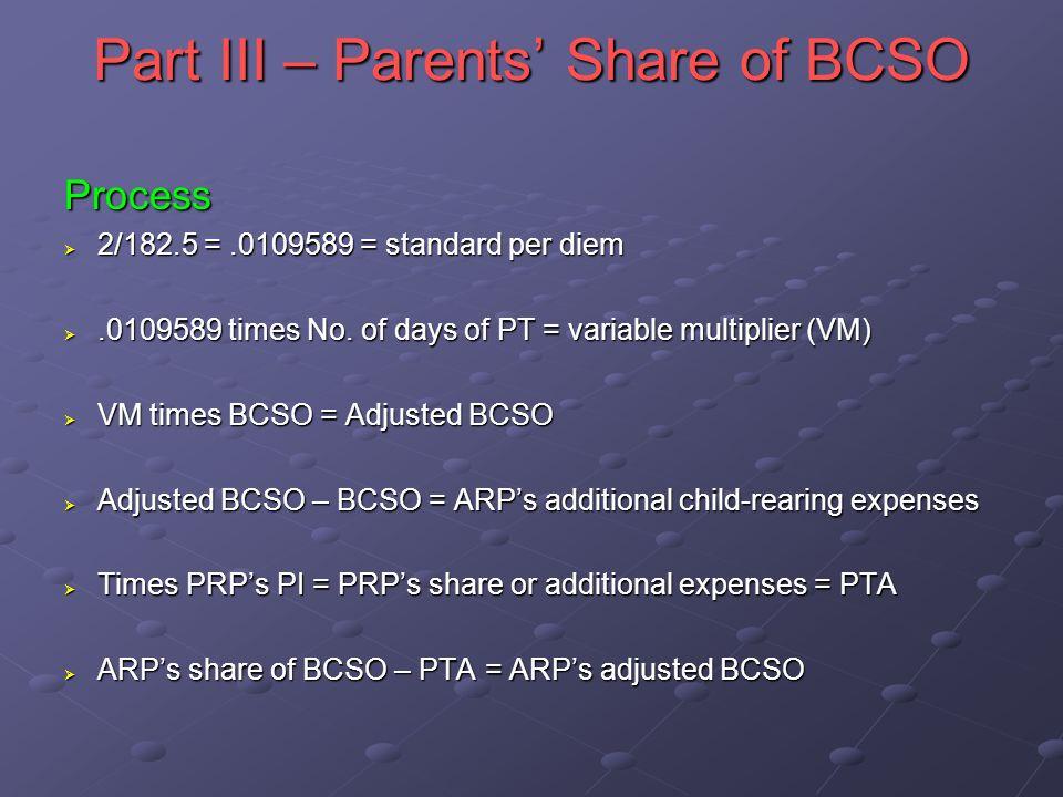 Part III – Parents Share of BCSO Process 2/182.5 =.0109589 = standard per diem 2/182.5 =.0109589 = standard per diem.0109589 times No.