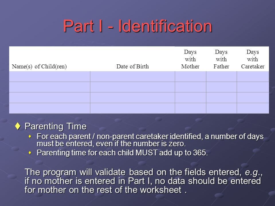 Part I - Identification Parenting Time Parenting Time For each parent / non-parent caretaker identified, a number of days must be entered, even if the number is zero.