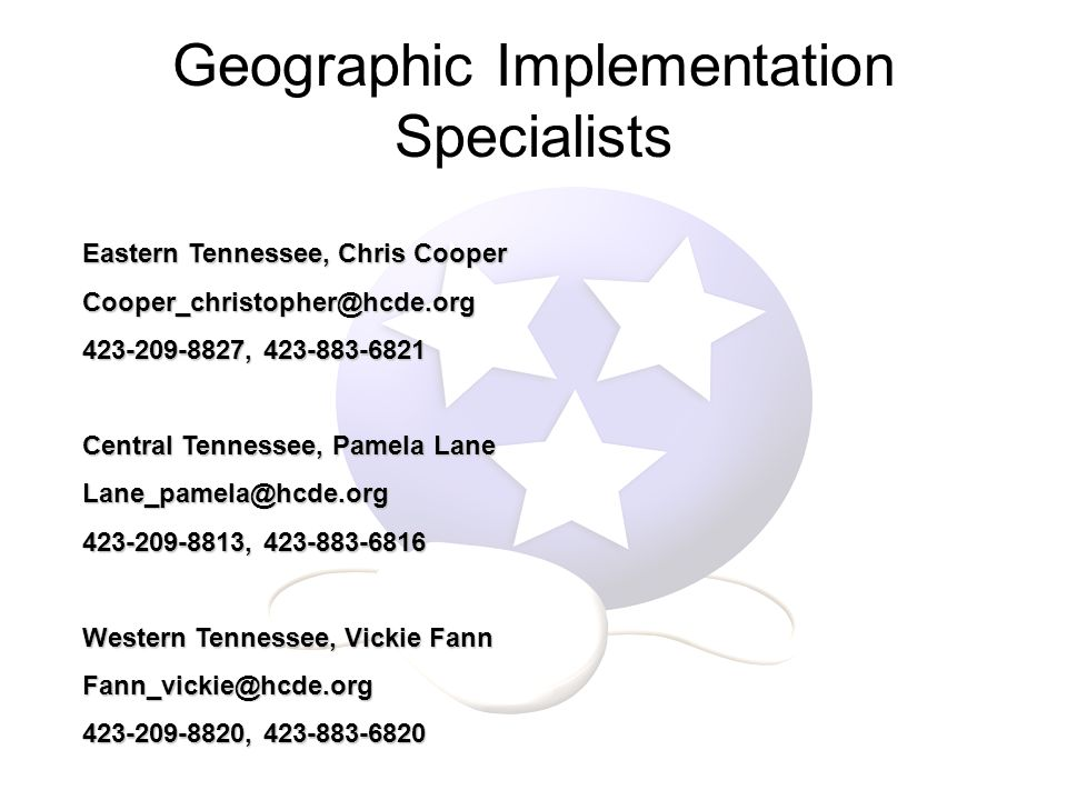Geographic Implementation Specialists Eastern Tennessee, Chris Cooper , Central Tennessee, Pamela Lane , Western Tennessee, Vickie Fann ,