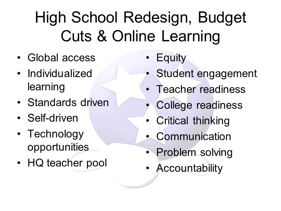 Global access Individualized learning Standards driven Self-driven Technology opportunities HQ teacher pool Equity Student engagement Teacher readiness College readiness Critical thinking Communication Problem solving Accountability High School Redesign, Budget Cuts & Online Learning