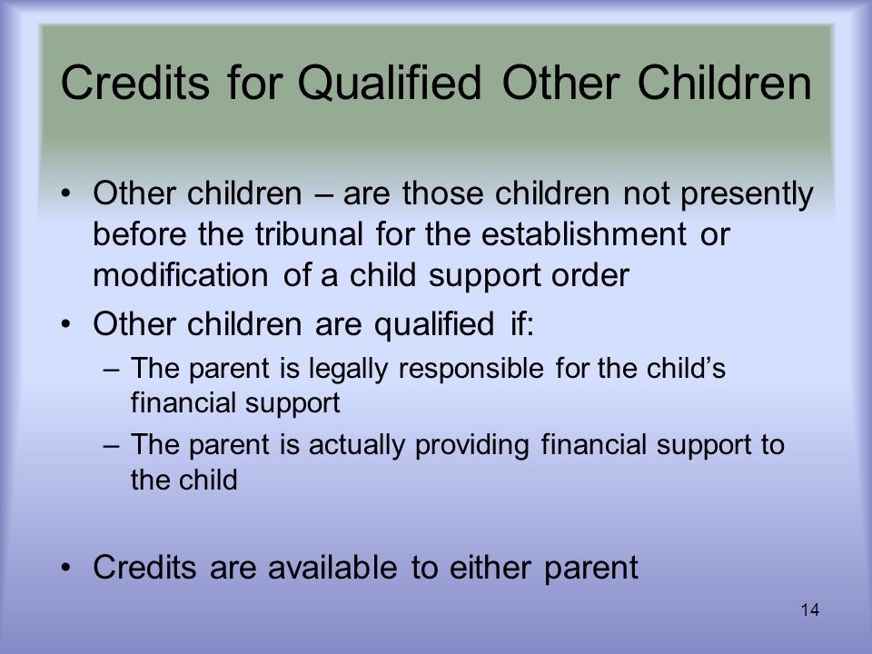 14 Credits for Qualified Other Children Other children – are those children not presently before the tribunal for the establishment or modification of