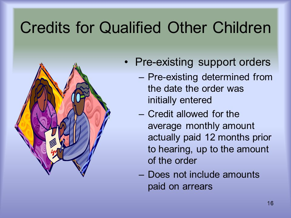 16 Credits for Qualified Other Children Pre-existing support orders –Pre-existing determined from the date the order was initially entered –Credit all