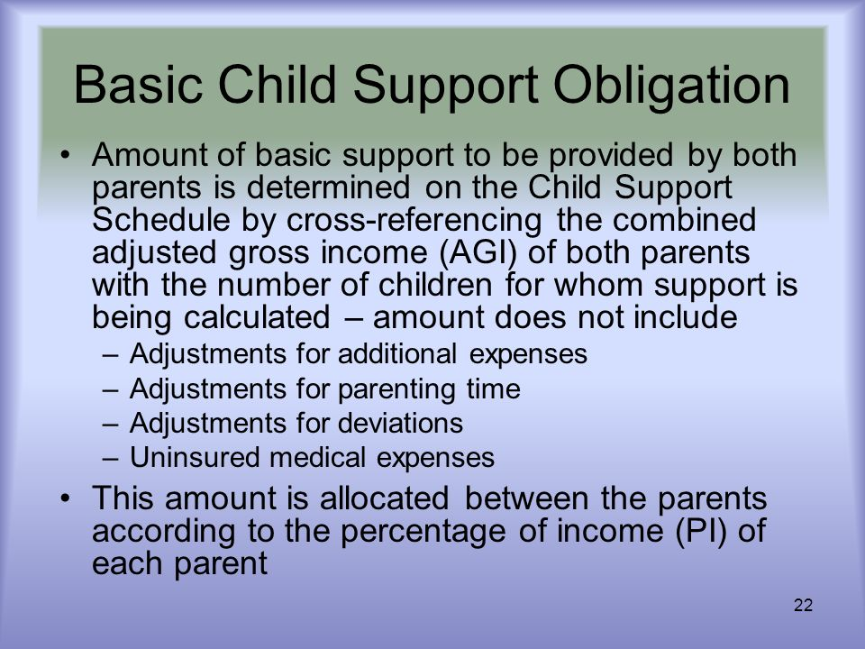 22 Basic Child Support Obligation Amount of basic support to be provided by both parents is determined on the Child Support Schedule by cross-referenc