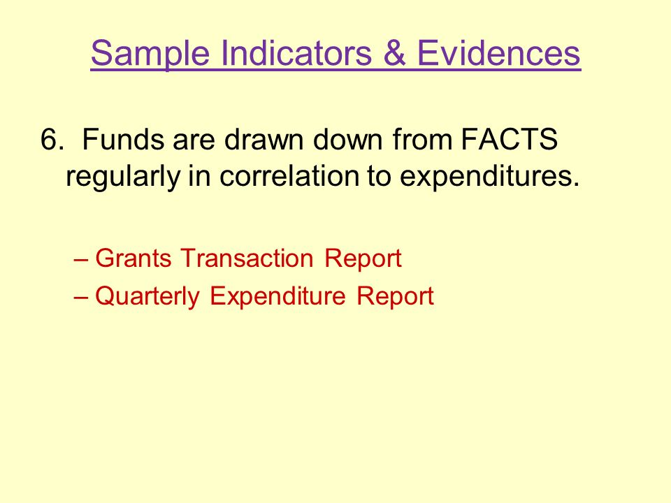 Sample Indicators & Evidences 6.