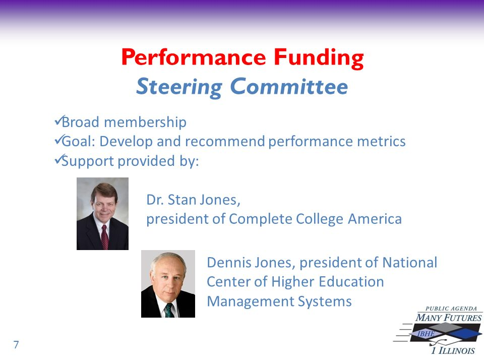 Performance Funding First Meeting July 21 st at Governors State University Pictured, left to right, President Elaine Maimon of GSU; Stan Jones (hidden from view), president of Complete College America; Sen.