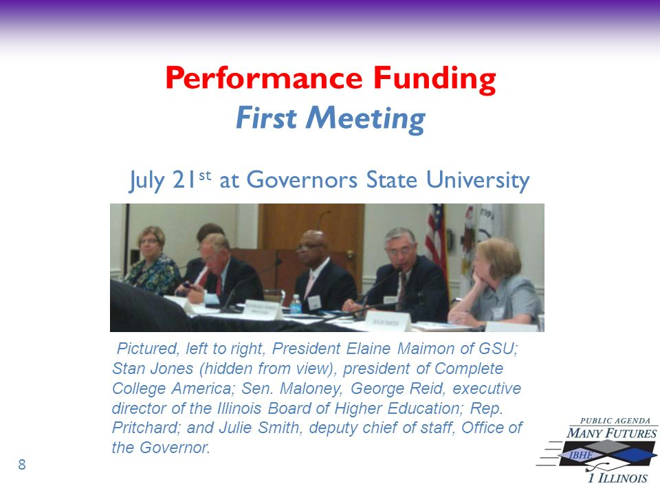 Performance Funding Next Steps Steering Committee to develop state level goals Work begins at next meeting Tuesday, August 30 at 10:00 a.m.