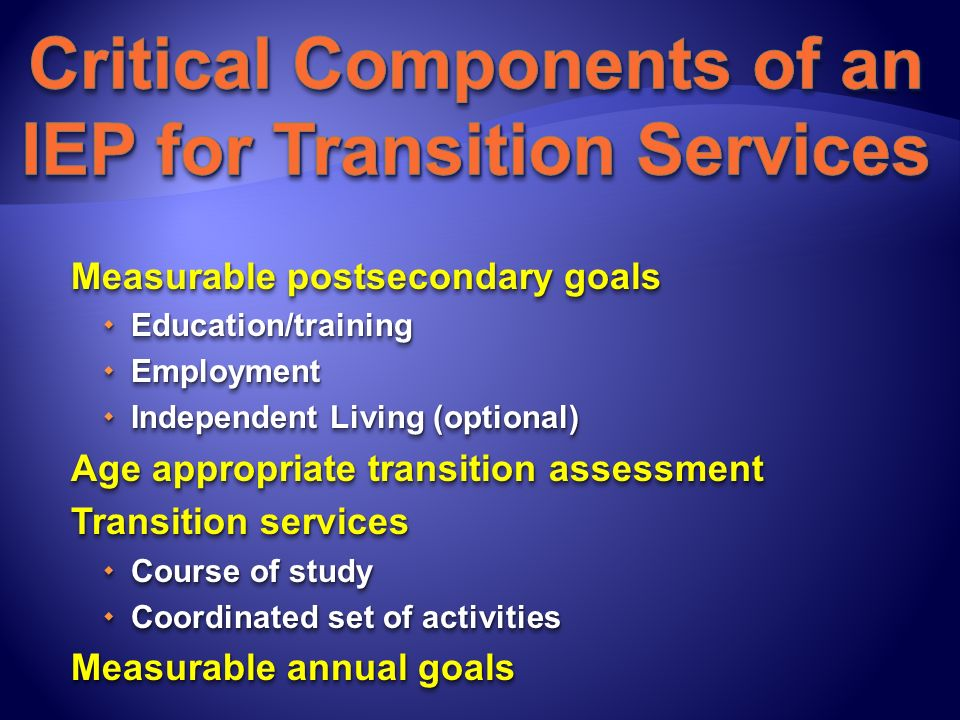 Measurable postsecondary goals Education/training Education/training Employment Employment Independent Living (optional) Independent Living (optional)
