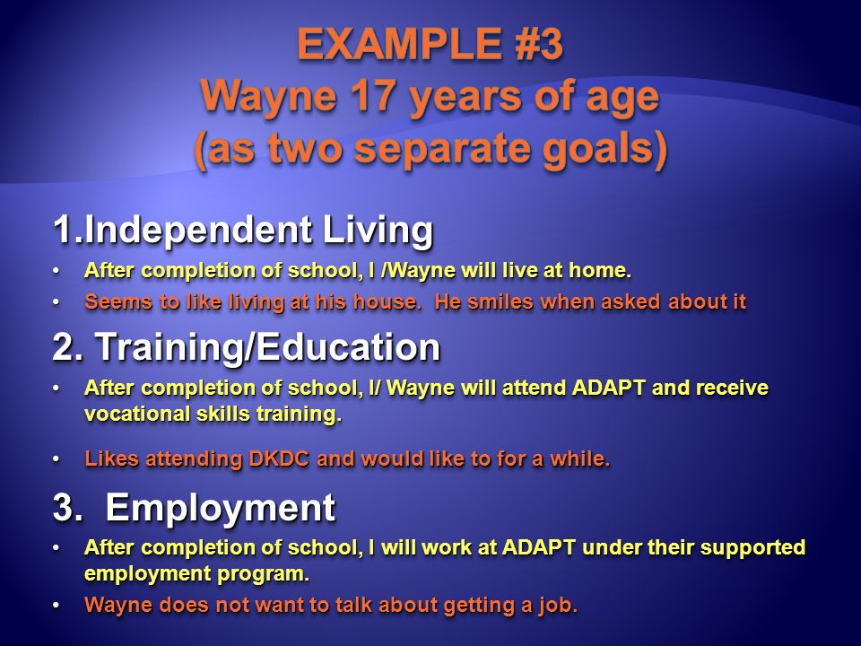 1.Independent Living After completion of school, I /Wayne will live at home.After completion of school, I /Wayne will live at home. Seems to like livi