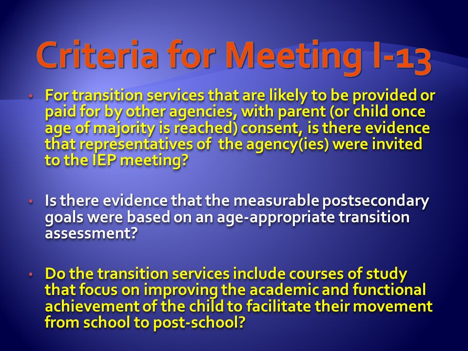 Broad definition: Formal process of cooperative planning that will assist students with disabilities to move from school into the adult world.