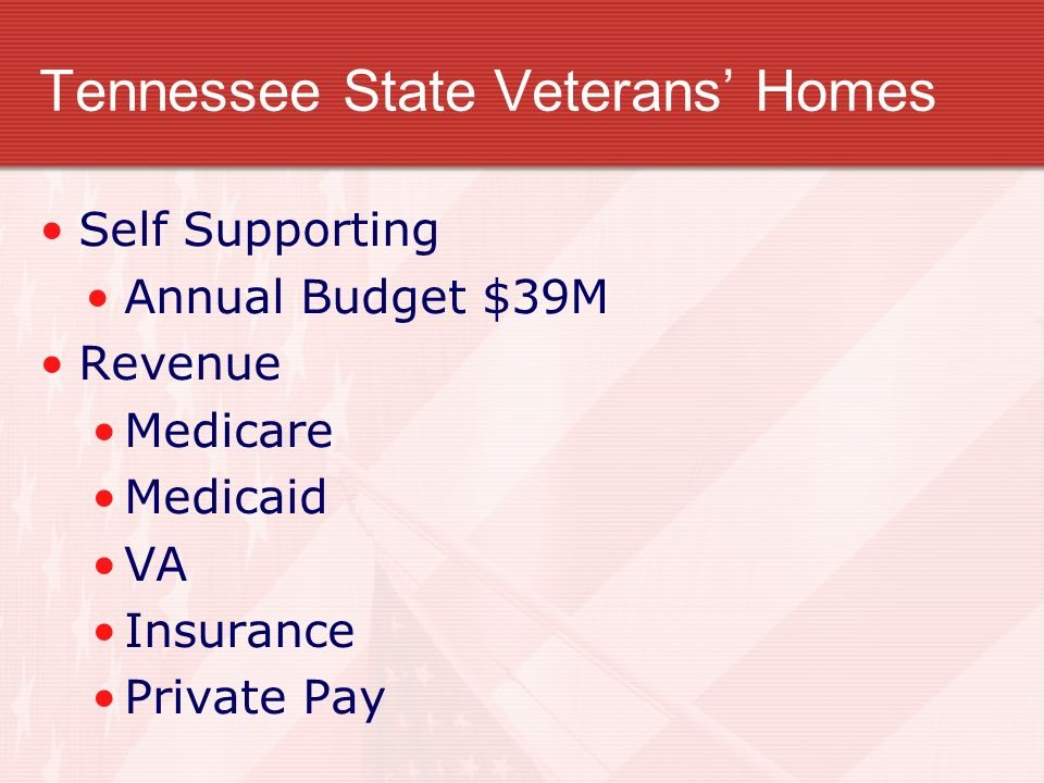 TENNESSEE STATE VETERANS HOMES Three existing homes Murfreesboro Humboldt Knoxville Facility profiles: 140 total Beds Provide intermediate and skilled care