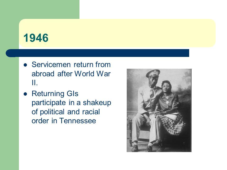 1946 Servicemen return from abroad after World War II.