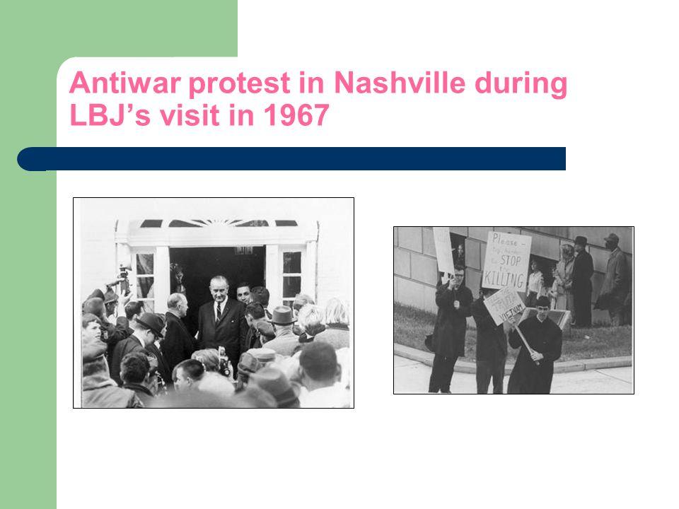 Antiwar protest in Nashville during LBJs visit in 1967